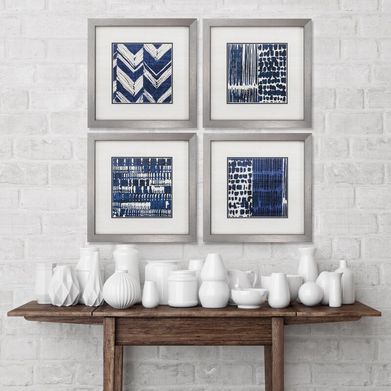 Sensational Indigo Batik Framed Graphic Art Set Onthecornerstone Fun Painted Chair Ideas Images Onthecornerstoneorg