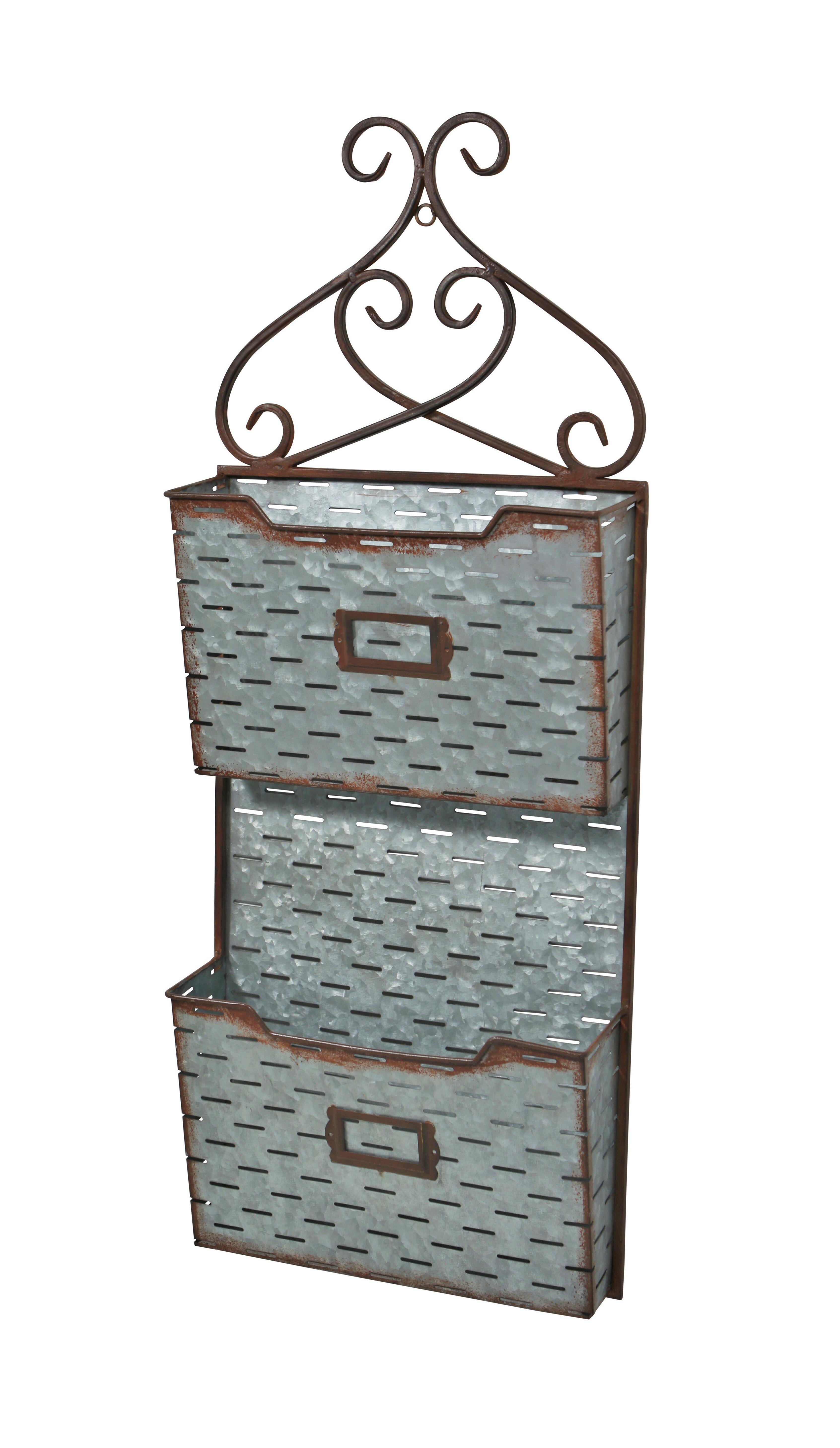 Gracie Oaks Prewitt 2 Tier Slatted Wall Organizer With Mail Storage Reviews Wayfair