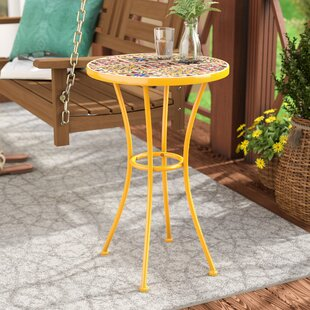 Chantel Outdoor Ceramic Tile Side Table by Bungalow Rose #2