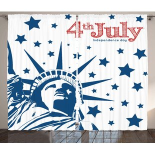 4th of July Graphic Print and Text Semi-Sheer Rod Pocket Curtain Panels (Set of 2) by The Holiday Aisle