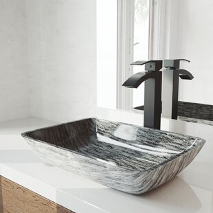 Best Tempered Glass Rectangular Vessel Bathroom Sink with Faucet By VIGO