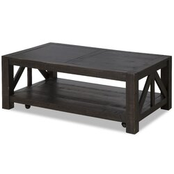17 Stories Graciela Rustic Coffee Table with Casters Wayfair