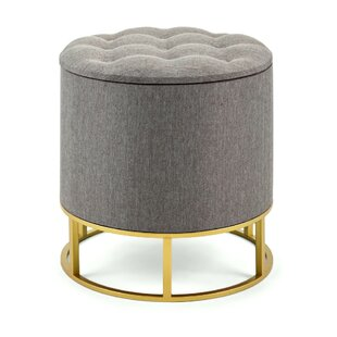 Sensational Ellie Round Metal Base Tufted Storage Ottoman Caraccident5 Cool Chair Designs And Ideas Caraccident5Info