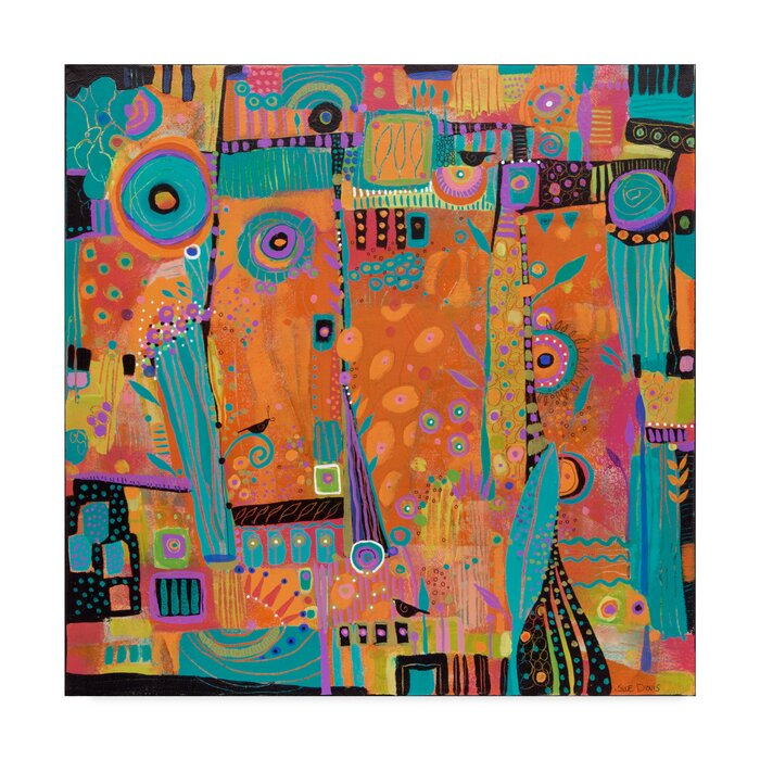My Happy Place Abstract Modern Acrylic Painting Print On Wrapped Canvas