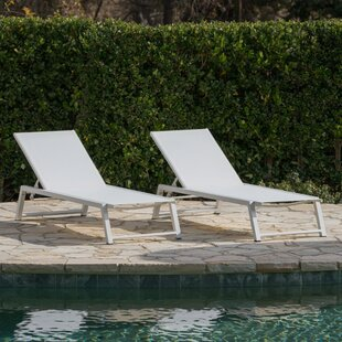 Moshier Outdoor Mesh Double Reclining Chaise Lounge (Set of 2)