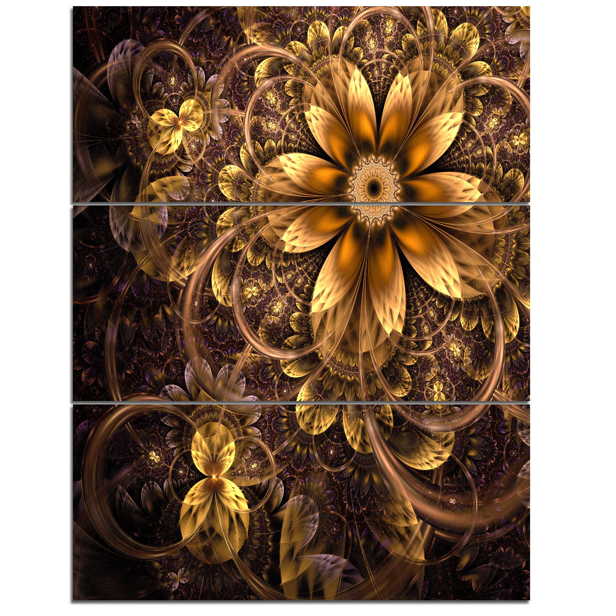 Designart Fractal Dark Yellow Flower 3 Piece Graphic Art On Wrapped Canvas Set Wayfair