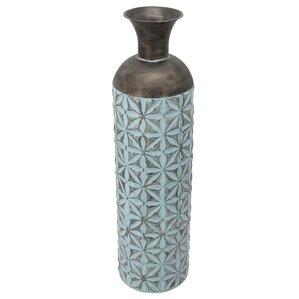 Saddler Blue/Bronze Metal Cylinder Bottle Floor Vase