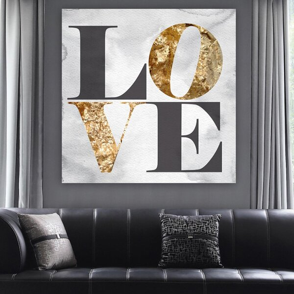 Oliver Gal 'Build on Love Stone Typography Art' Wrapped Canvas Print