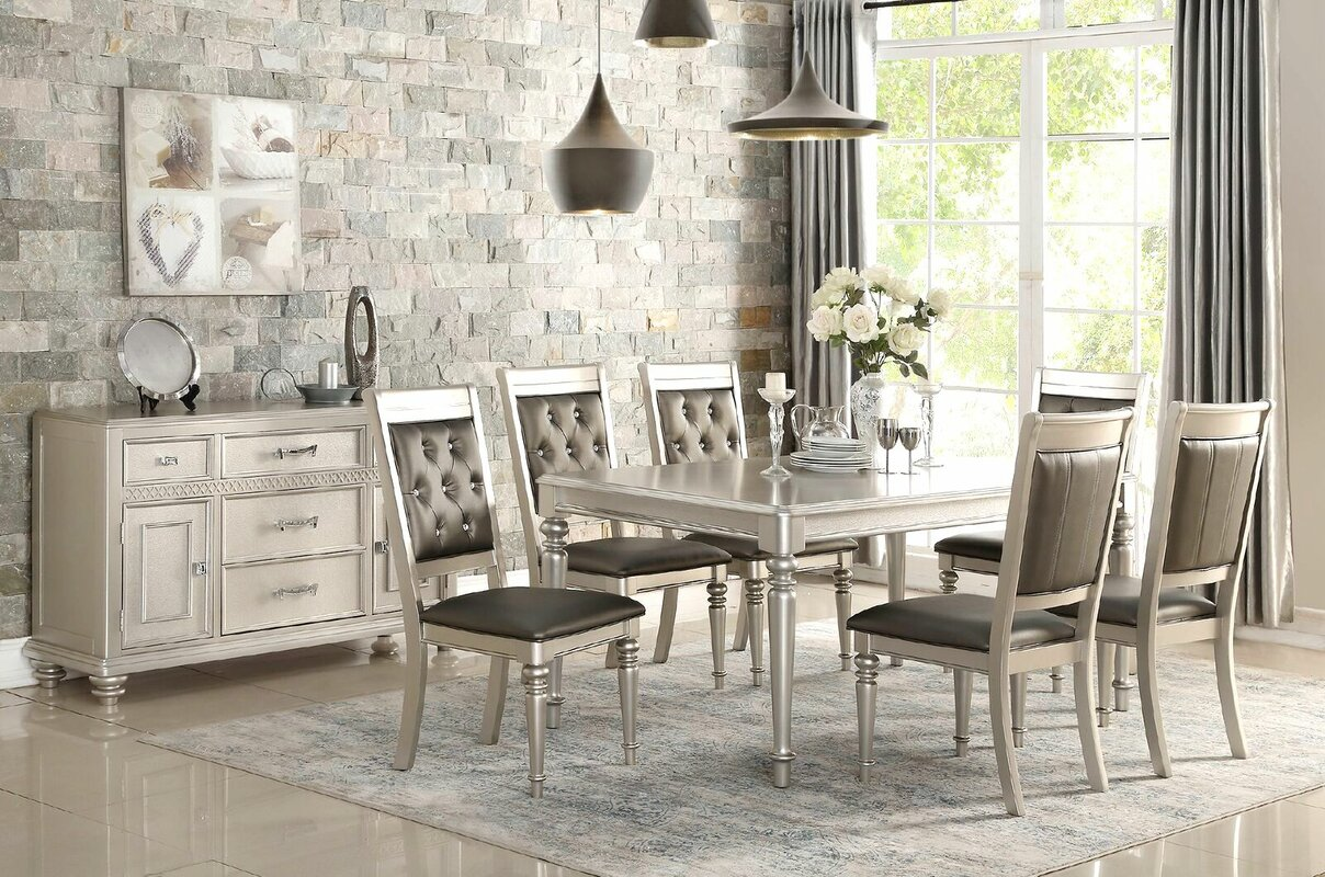 blumer silver 7 piece dining set - Silver Dining Room Interior