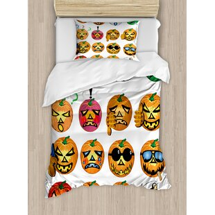 Halloween Carved Pumpkin with Emoji Faces Humor Hipster Monsters Art Duvet Set by Ambesonne
