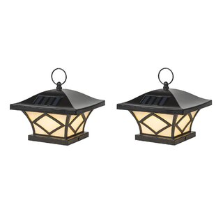 Winsome House Solar 1-Light Fence Post Caps (Set of 2)