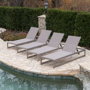 Orren Ellis Roberson Outdoor Mesh Chaise Lounge (Set of 4)