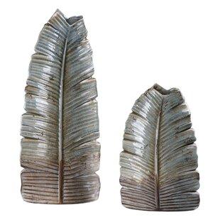 2 Piece Gray Ceramic Vase Set