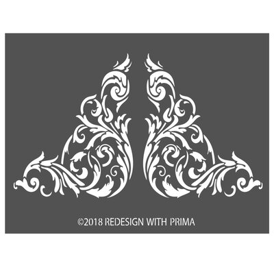 PrimaMarketing Redesign 3D Stencil Anetta Corners Wall Decal