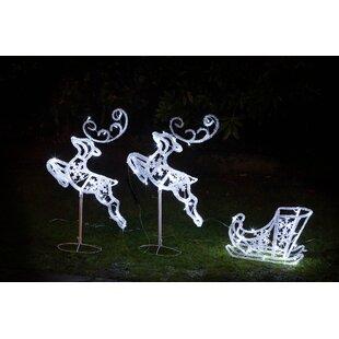 Sleigh & 2 Flying Reindeers Lighted Display By The Seasonal Aisle