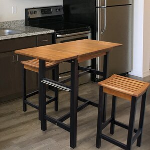 Jeanetta 3 Piece Table Stool Kitchen Island Set by Red Barrel Studio