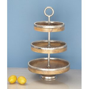 wood aluminum 3 tiered stand