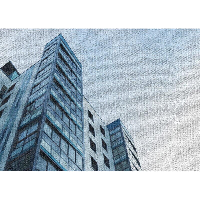 East Urban Home High Rise Buildings 3 Blue Area Rug Wayfair