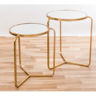 Burrill Metal Mirrored 2 Piece Nest Of Tables By Canora Grey