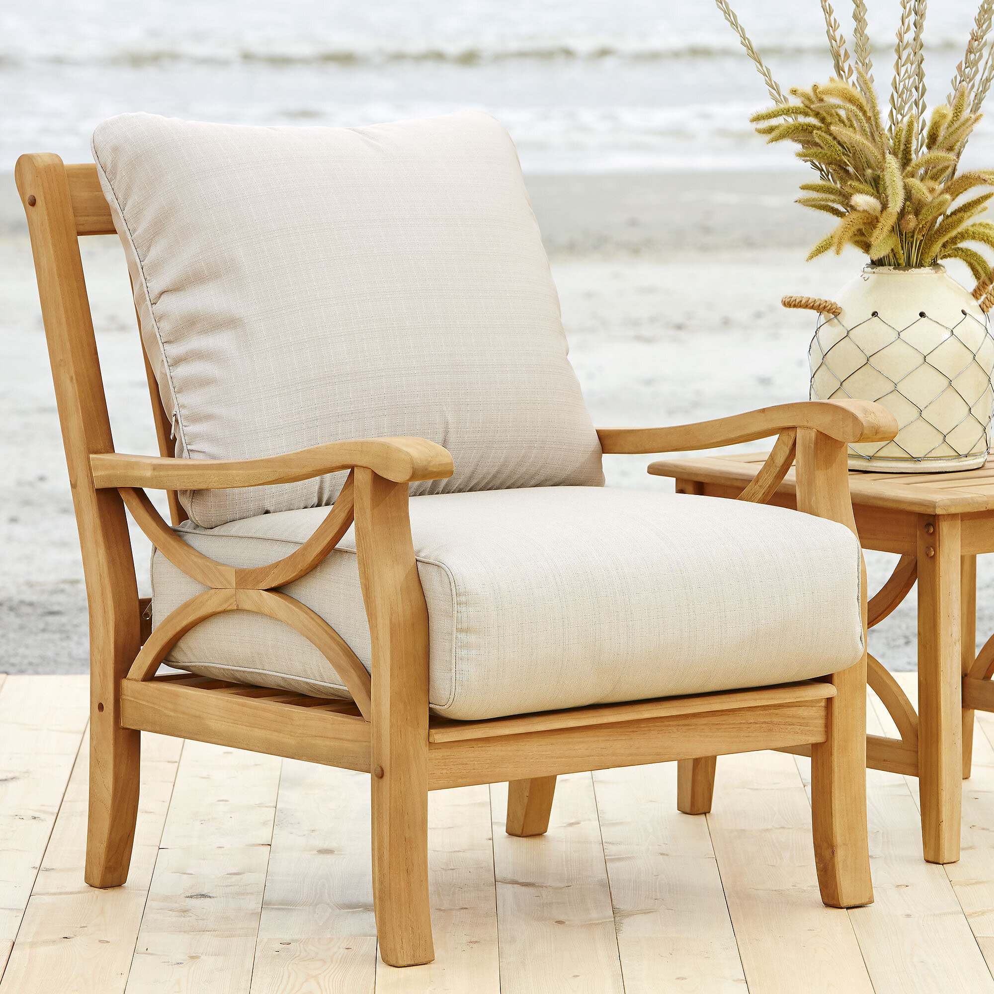 Birch Lane Heritage Brunswick Teak Patio Chair With Cushions