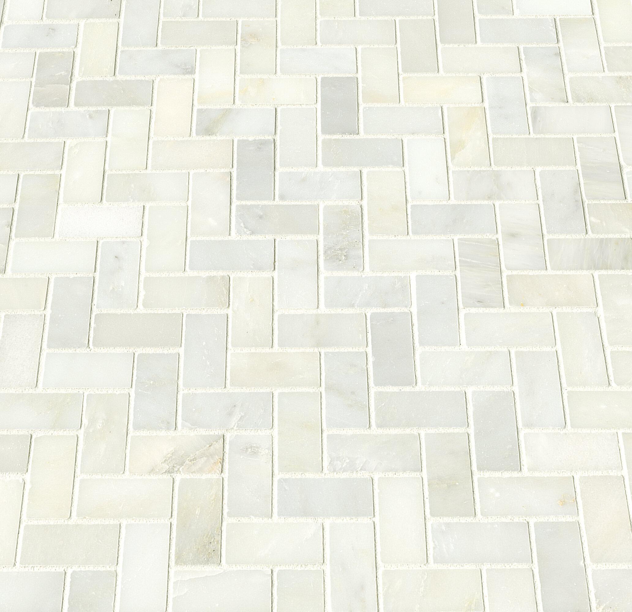 MSI Greecian Herringbone Polished Glass Stone Mosaic Tile in White