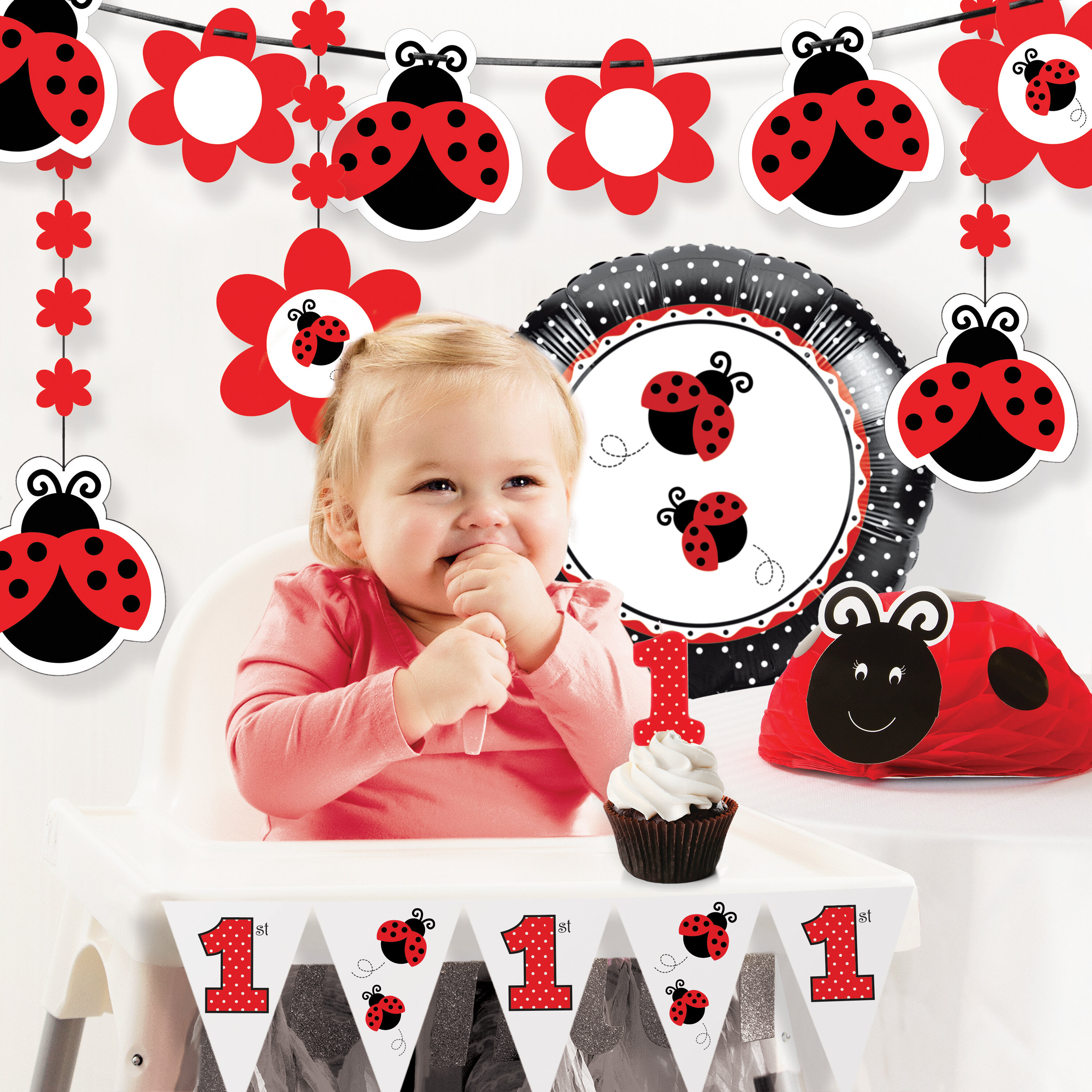 The Party Aisle Ladybug Fancy First Birthday Decoration Kit
