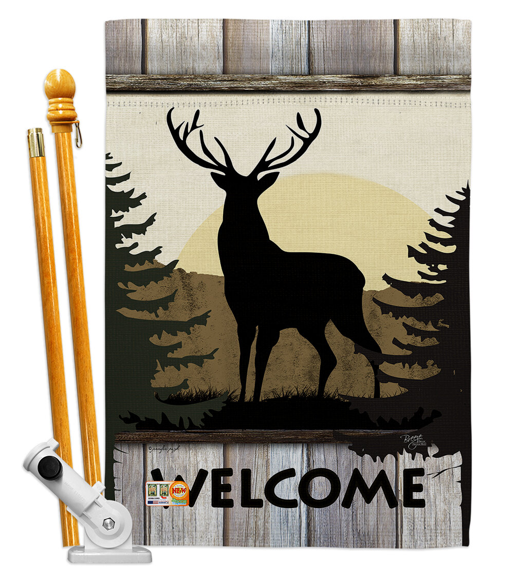 Breeze Decor Welcome Deer 2 Sided Polyester 40 X 28 In Flag Set Wayfair