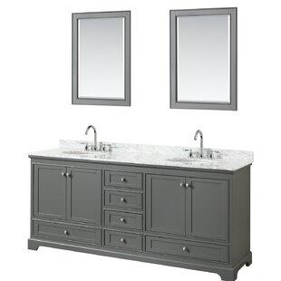 Deborah 80 Double Dark Gray Bathroom Vanity Set with Mirror By Wyndham Collection