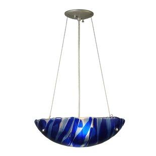 Meyda Tiffany Metro Fusion Azul Glass 3-Light Bowl Pendant