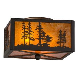Meyda Tiffany Greenbriar Oak Tall Pines 2-Light Flush Mount