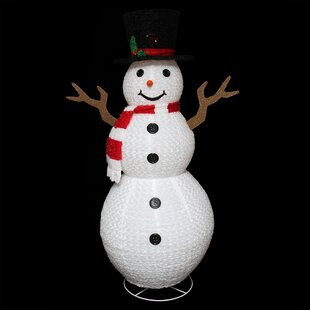 Pre-Lit Outdoor Chenille Swirl Large Snowman Christmas Decoration