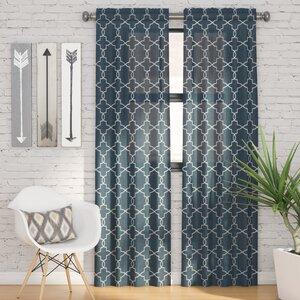 Kaiser Geometric Semi-Sheer Rod Pocket Curtain Panels (Set of 2)