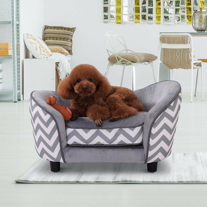 Wooden Plush Fur Dog Sofa In Grey