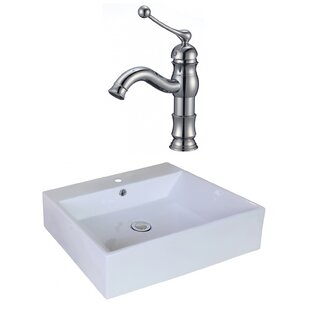 Online Reviews Ceramic Rectangular Vessel Bathroom Sink with Faucet and Overflow By American Imaginations