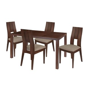 Ebern Designs Hendrix 5 Piece Solid Wood Dining Set