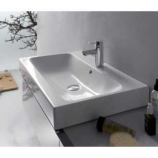Bissonnet ICon Ceramic Rectangular Vessel Bathroom Sink with Overflow