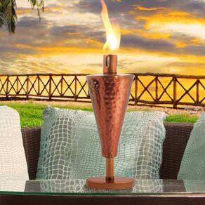 Anywhere Fireplace Hammered Copper Cone Tabletop Torch