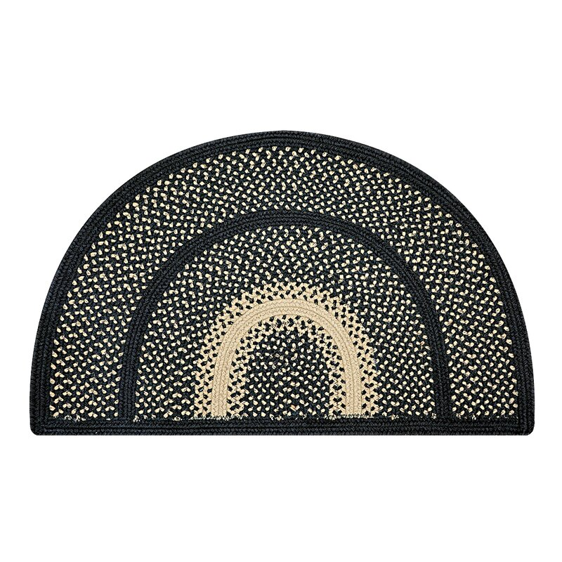 """Shellson Hand-Braided Black Indoor/Outdoor Area Rug Rug Size: Rectangle 2'3"""" x 3'0.75"""" -  August Grove"""