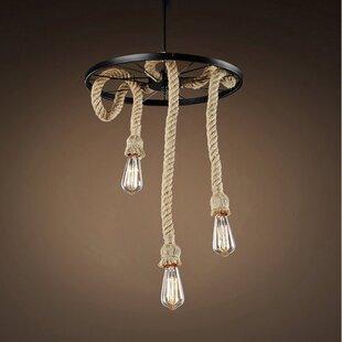 Fischer Hemp Rope Edison 3-Light Pendant by Longshore Tides
