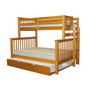 Mission Twin over Full Bunk Bed with Full Trundle by Bedz King