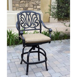 Lebanon Patio Counter Height Swivel Bar Stool with Cushion (Set of 6) (Set of 6)