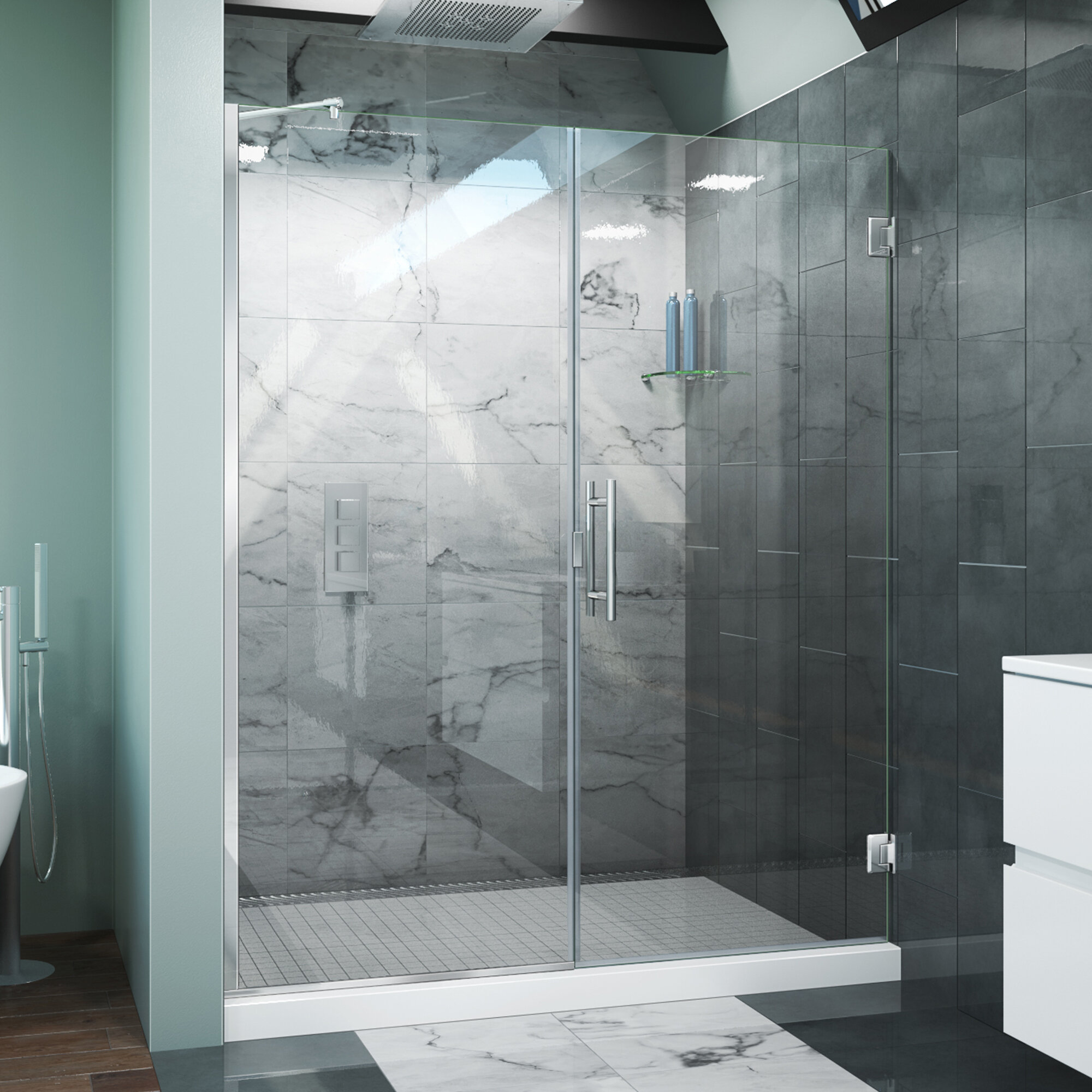 Arizona Shower Door Scottsdale 60 X 72 Hinged Frameless Shower Door With Invisible Shield By Clean X Wayfair