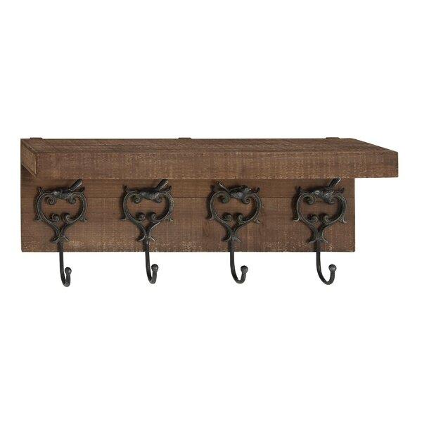 Ophelia Co Avinash Traditional Wall Mounted Coat Rack With Top Best Metal Wall Coat Rack With Shelf