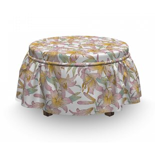 Royal Spring Lilies Ottoman Slipcover (Set Of 2) By East Urban Home