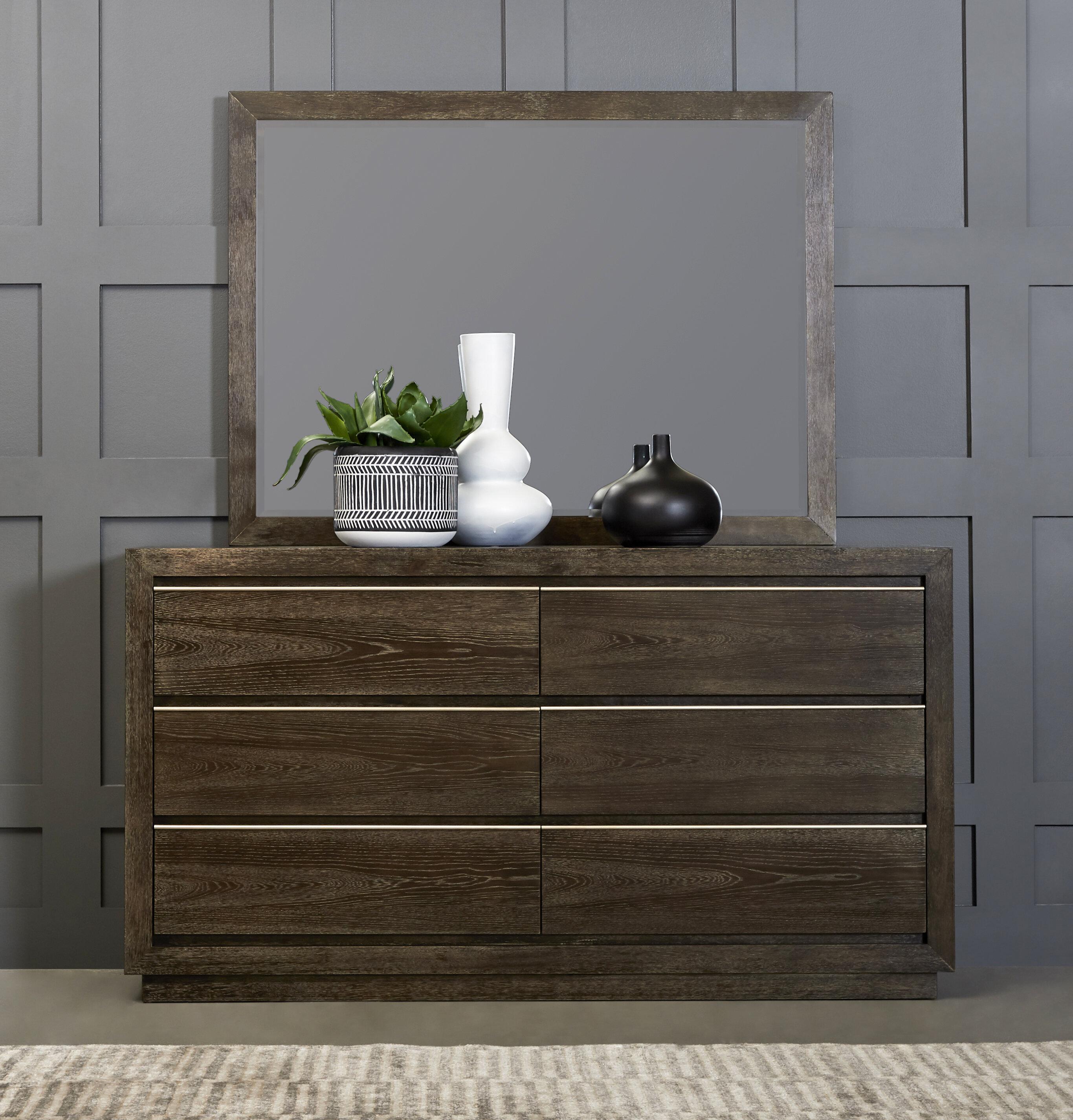 Brayden Studio Lydney 6 Drawer Double Dresser With Mirror Wayfair