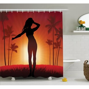 Beach Woman with Exotic Trees Single Shower Curtain