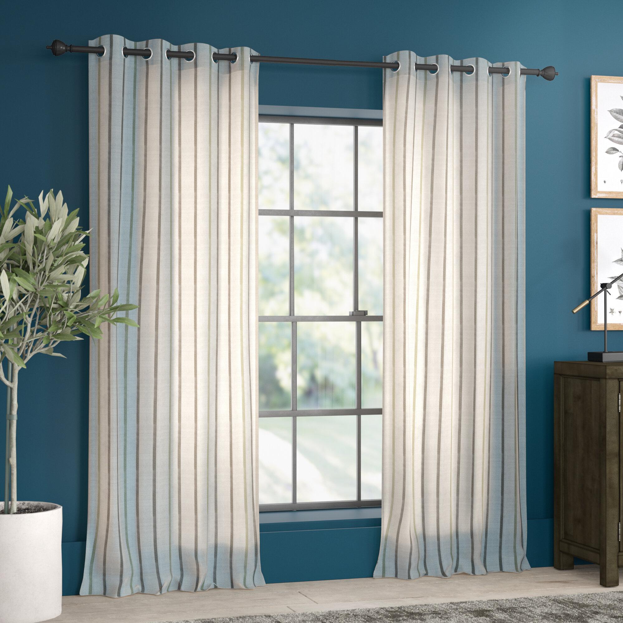 Eastville Striped Semi Sheer Grommet Curtain Panels