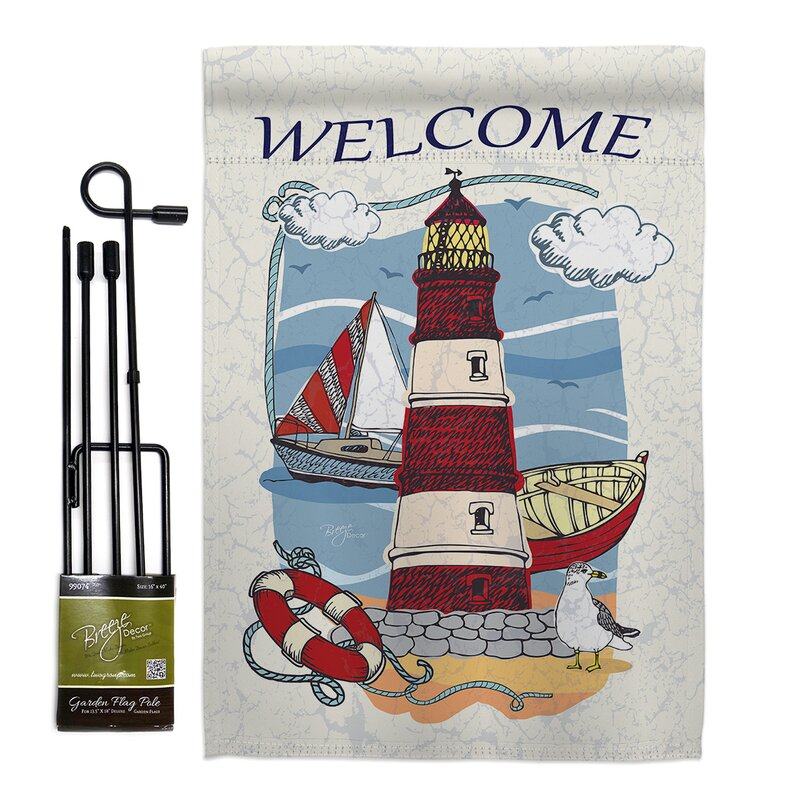 Breeze Decor Lighthouse Shore Beach Impressions 2 Sided Polyester 1 6 5 X 1 1 Flag Set Wayfair
