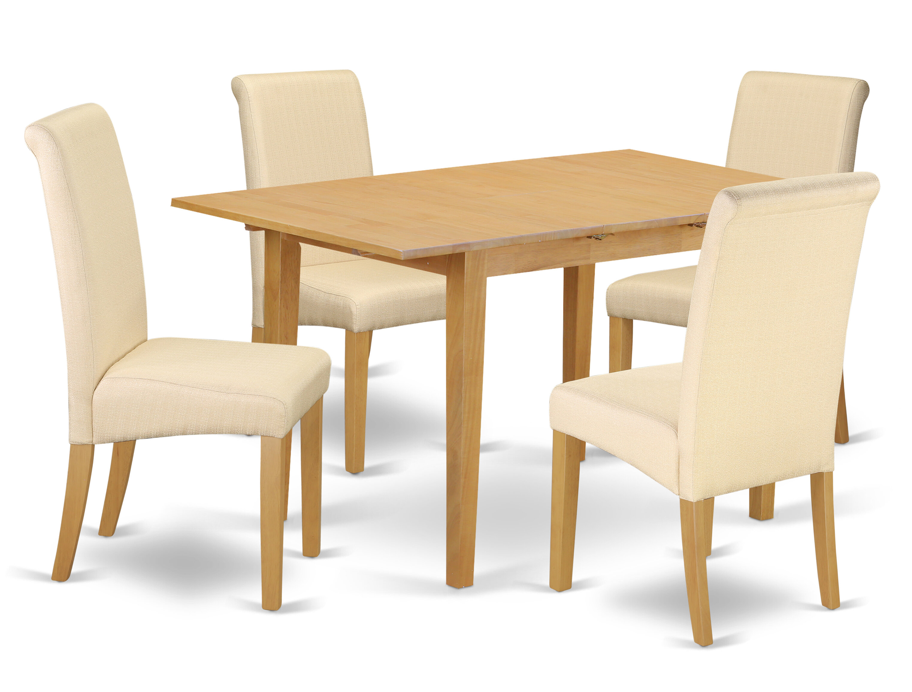 Sarai Kitchen Table 5 Piece Extendable Solid Wood Breakfast Nook Dining Set