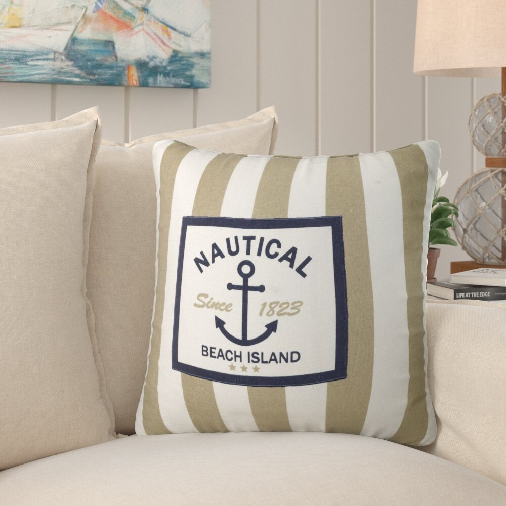 Breakwater Bay Murray Nautical Stripe Be Cotton Throw Pillow Reviews Wayfair